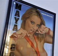 Poster displaying a Hungarian porn movie star