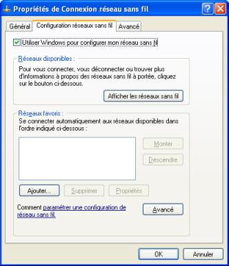Dialogue box - Use Windows to configure my wireless network