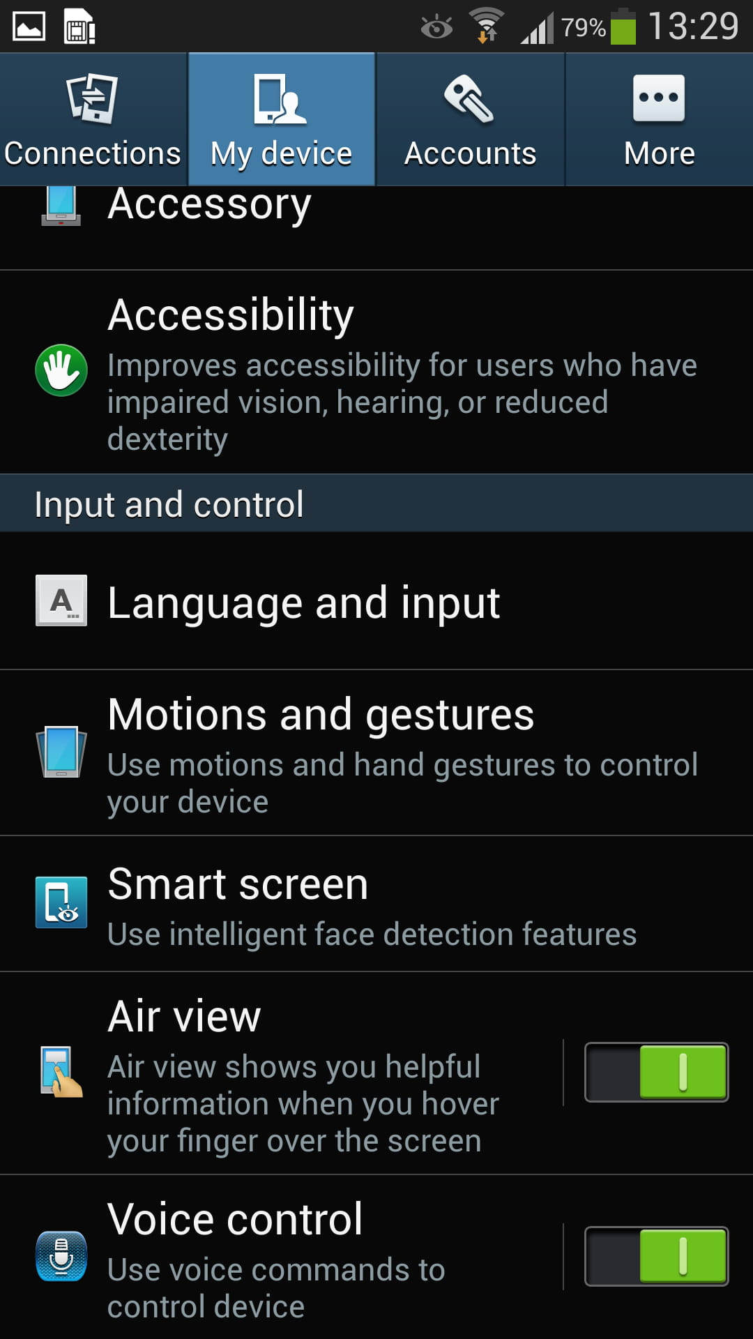 Samsung galaxy s4 enable the voice control feature scroll to input and control and enable voice control ccuart Gallery