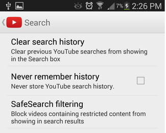 how to clear contact history android