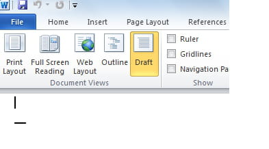 Under Word Select The View Tab Document Draft