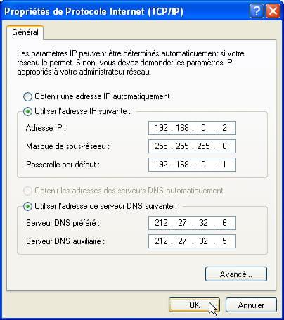 Internet protocol properties (TCP/IP)