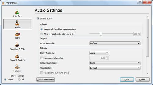 VLC - Keep audio level between sessions