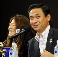 Japan coach Norio Sasaki (right) and captain Homare Sawa (left) at a press conference in Tokyo on Tuesday