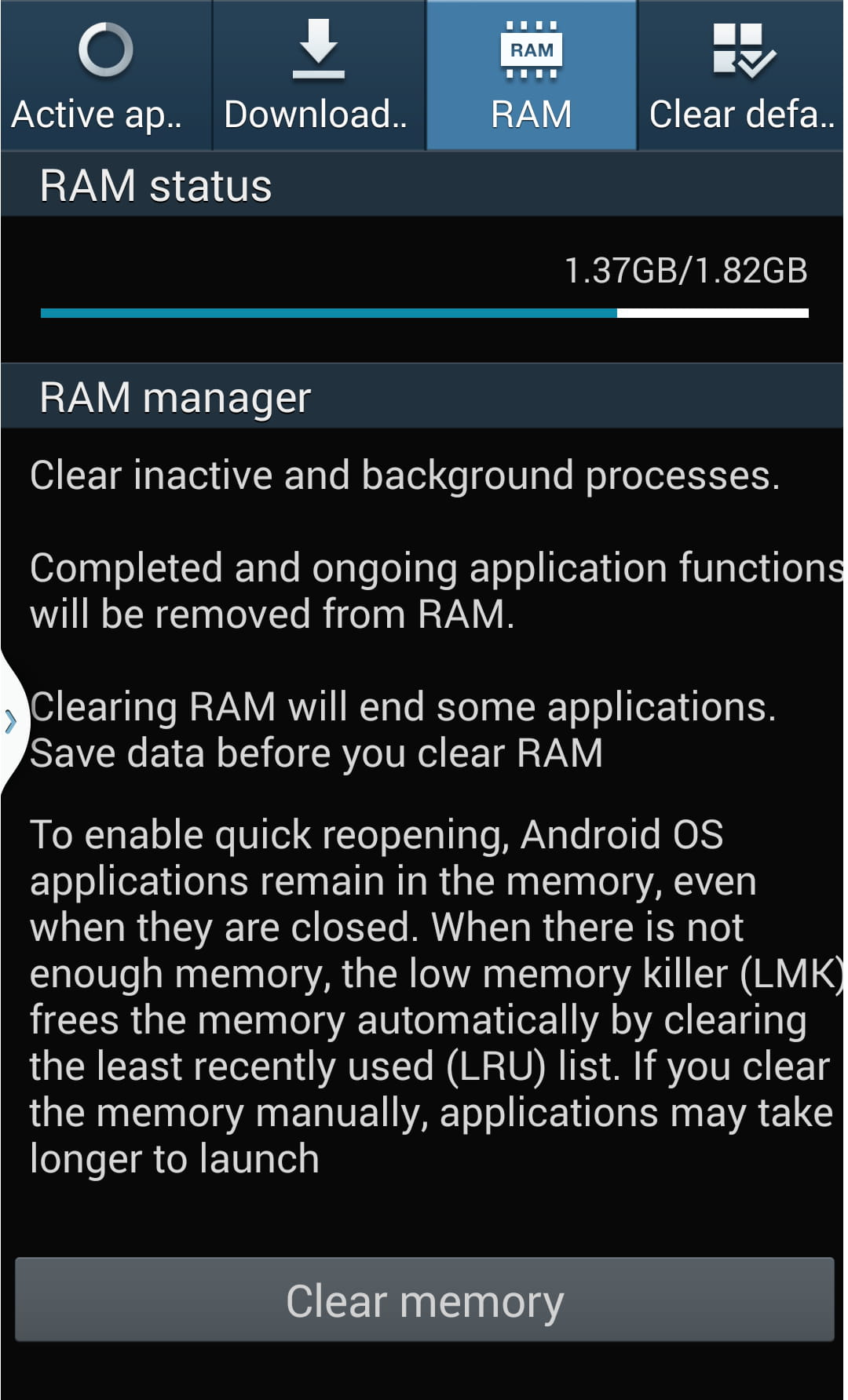 clear android phones memory ram