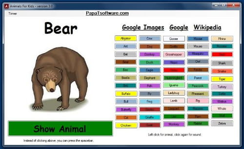 animals for kids is a software designed for educational use it helps kids know different animals in a very simple way
