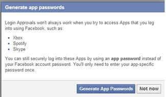 Facebook - Generate Apps Passwords