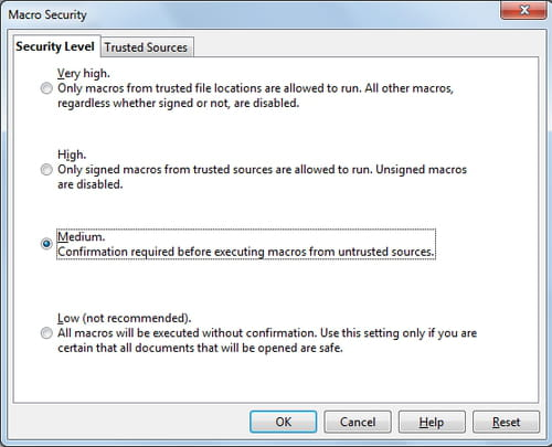 OpenOffice - Set the security level for execution macros