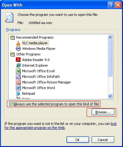 Associating an application to a file extension