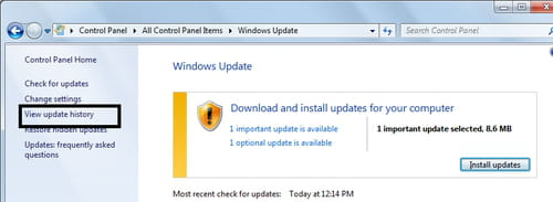 Windows 7 - view update history