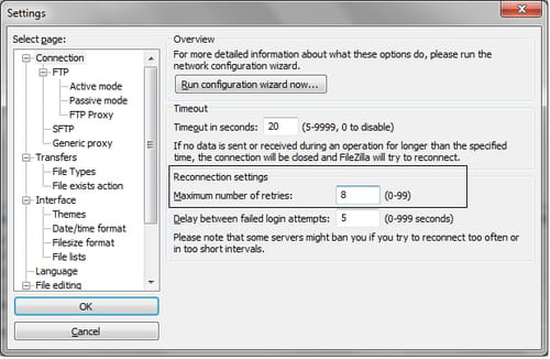 FileZilla - Set the maximum number of reconnection retries