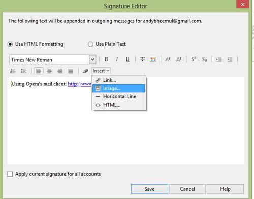 Opera Mail - Create a signature