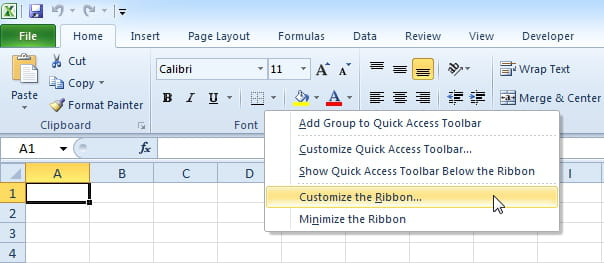 Excel VBA: How to enable Developer Tab
