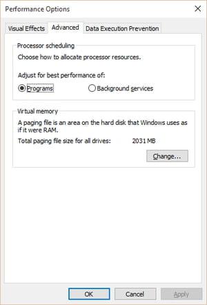 Adjust Default Virtual Memory Size on Windows 10