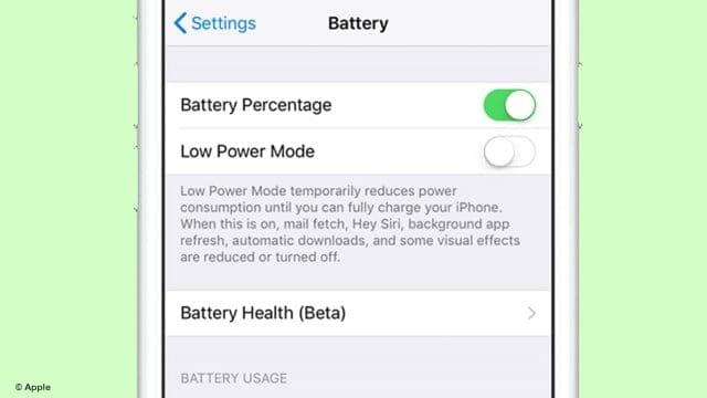 Apple Releases Battery Health Menu