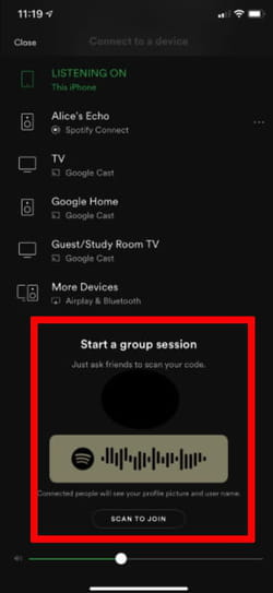 screenshot Spotify group session