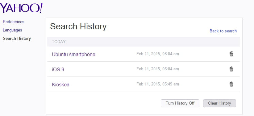 Yahoo Search How To Clear Your Search History