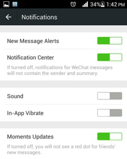 WeChat - How to turn off in-app sound and vibration