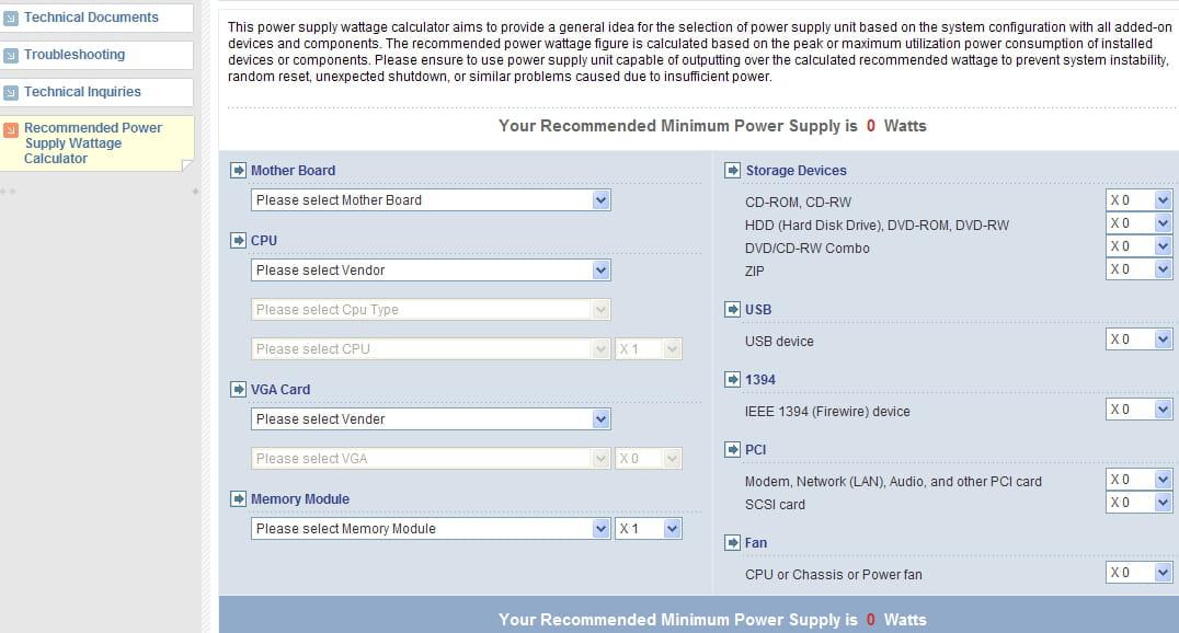 Choosing the right power supply - Power Supply Calculator