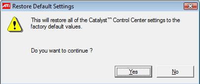 ATI Catalyst Control Center - Restore to factory defaults