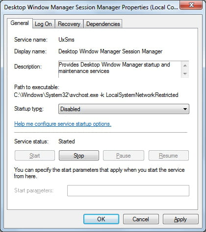 Windows 7 - Disable the Desktop Window Manager Session Manager s
