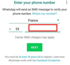 WhatsApp enter number screenshot