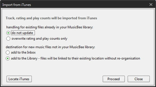MusicBee - Import your iTunes Library