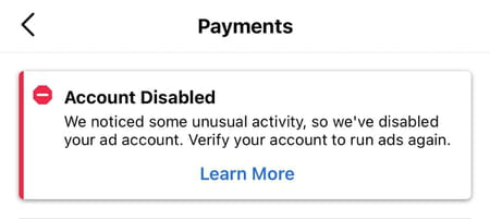 Instagram promotions disabled