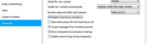 TeamViewer - Disable TeamViewer shutdown