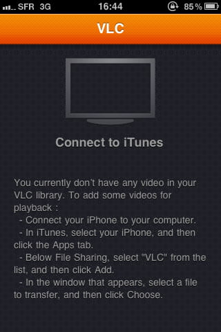 Add videos in VLC Media Player for iPhone