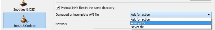 how to play avi files on vlc
