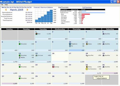budget calendar freeware