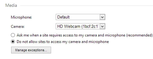 Opera - Prevent websites from accessing your webcam and microphone