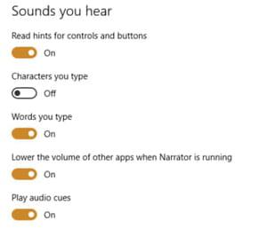 narrator settings windows 10
