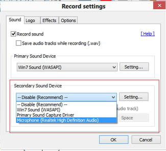 Bandicam - Enable and configure a secondary sound device