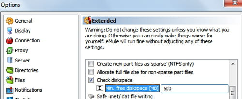 eMule - Automatically check for available disk space