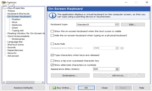 Download the latest version of Comfort On-Screen Keyboard