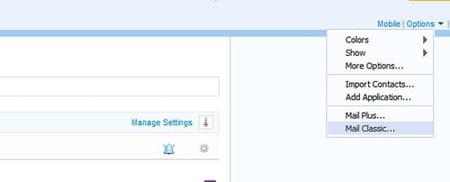Yahoo mail revert to classic screenshot
