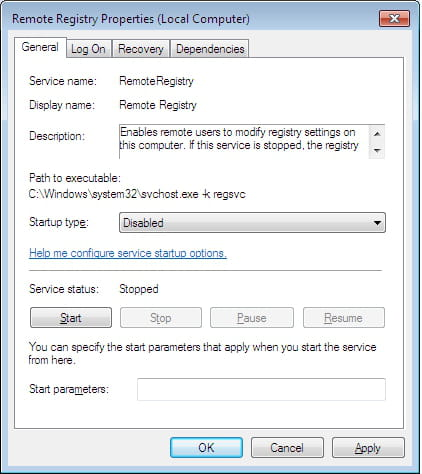 Windows 7 - Disable Remote Registry Access