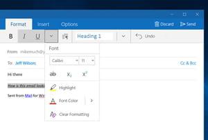 font formatting mail app