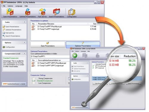 Download the latest version of PPTminimizer free in English on CCM