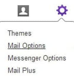 Yahoo menu screenshot