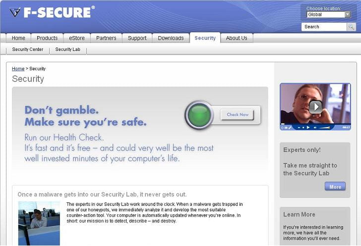 Online scanning using F-secure