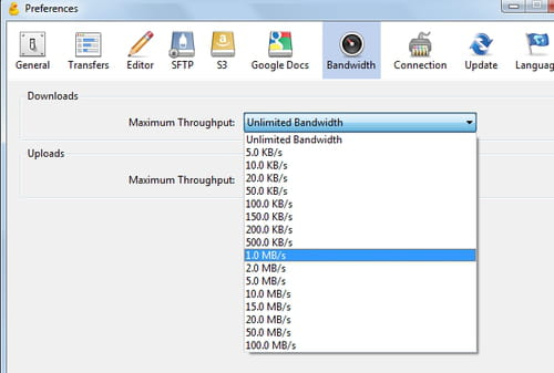 Cyberduck FTP - Configure the maximum upload/download speed