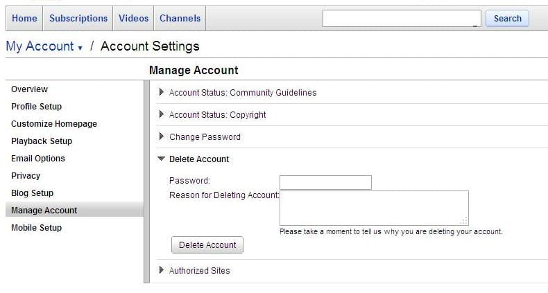 how to delete a yt account