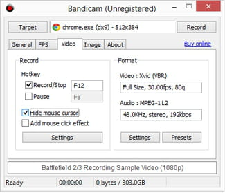 Bandicam - Hide or display the mouse cursor when capturing