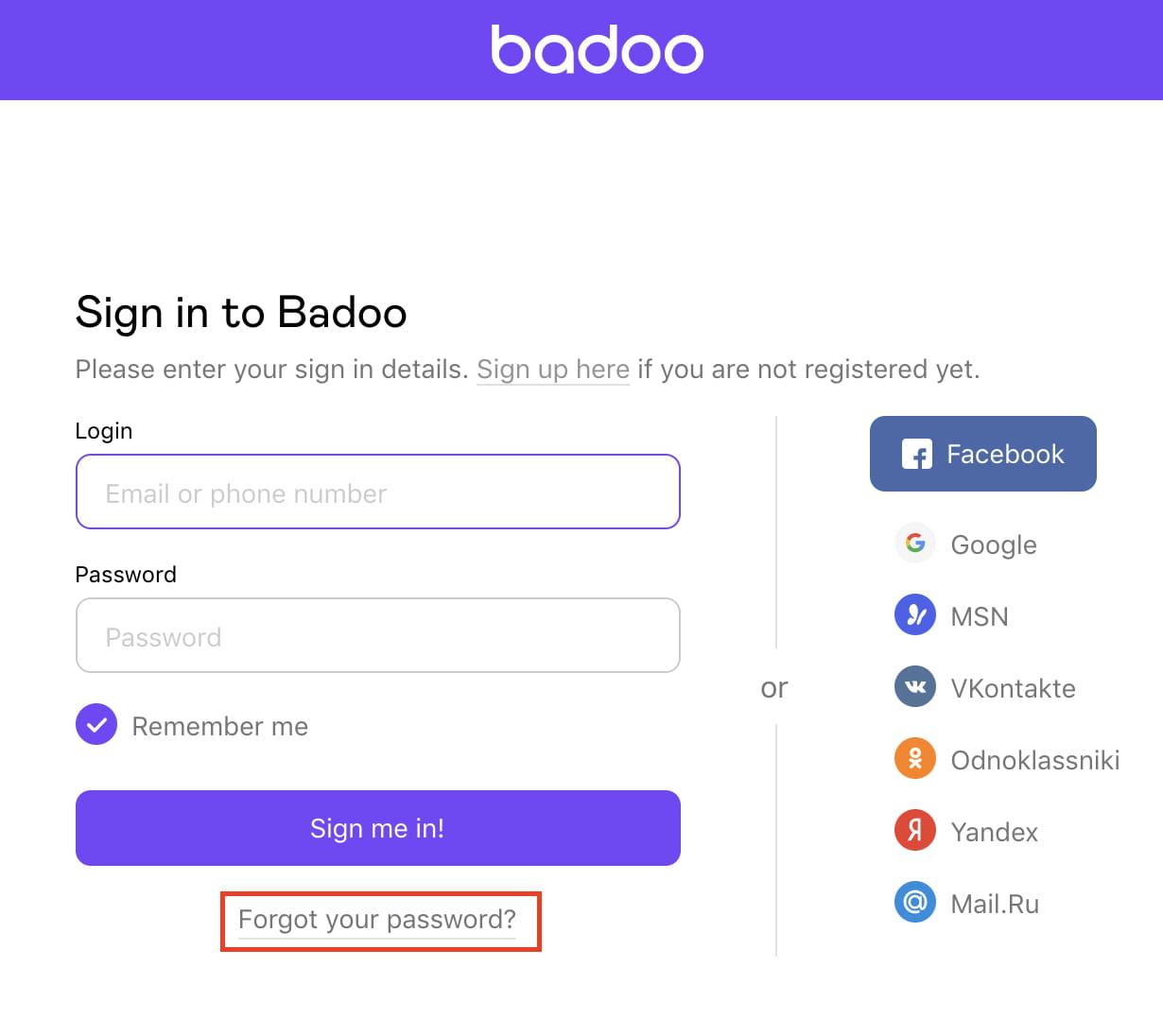 Badoo can t login