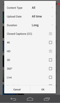 android how to filter your search results in the youtube app