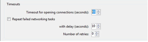 Cyberduck FTP - Configure the timeout settings for opening connections