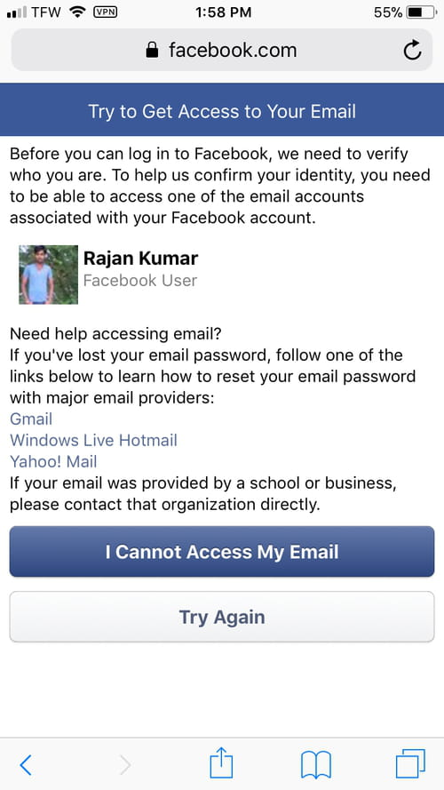 Unable to received the Facebook code to access my account - Facebook